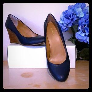 "Nine West, 3"" wedge heel, almond toe, size 8M"